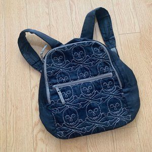 Boy's Navy Blue Grey Mini Backpack Skulls Skeleton